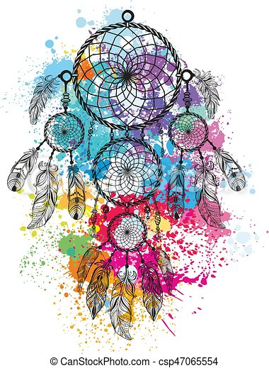 Dreamcatcher against a background of colorful