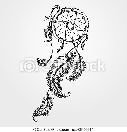 Dreamcatcher, feathers and beads. - csp36109814