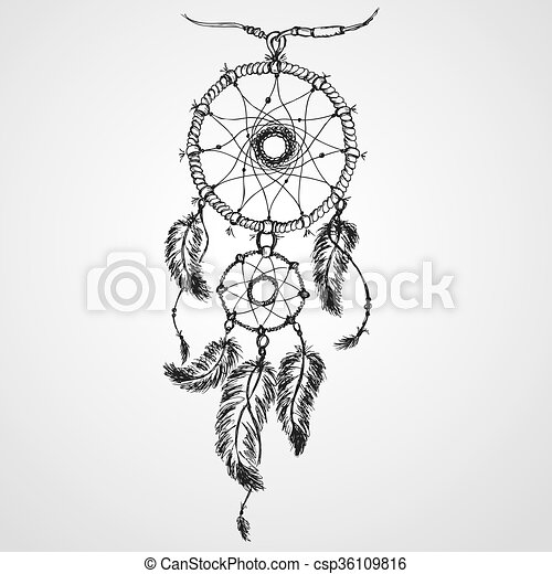 Dreamcatcher, feathers and beads. - csp36109816