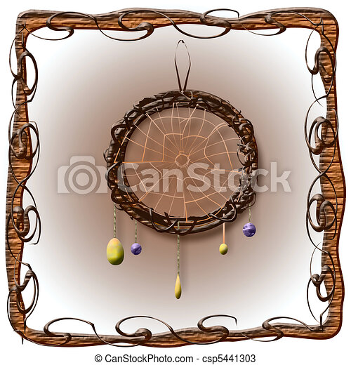 Dreamcatcher Illustration With Stones In Rustic Frame