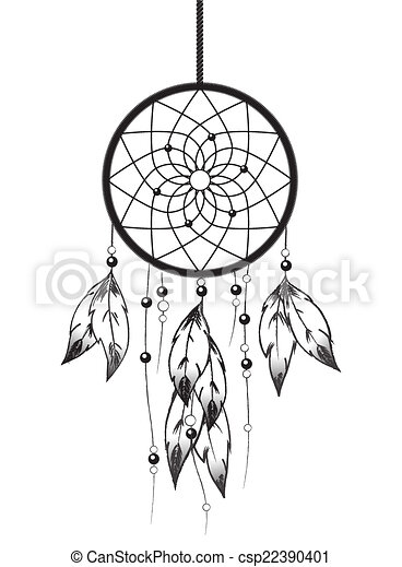 black and white illustration of a dreamcatcher eps10 vector rh canstockphoto com dreamcatcher clipart watercolor dreamcatcher clipart watercolor