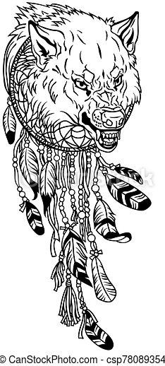 dreamcatcher with head of wolf - csp78089354
