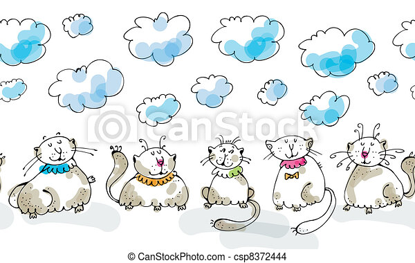Dreaming cats seamless boarder - csp8372444