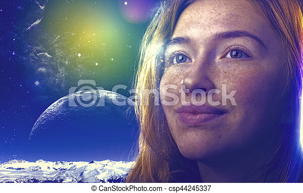 Dreams, another reality. Funny female portrait with red head girl - csp44245337