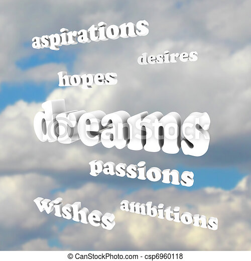 Dreams - Words in Sky for Hopes, Passions, Ambitions - csp6960118