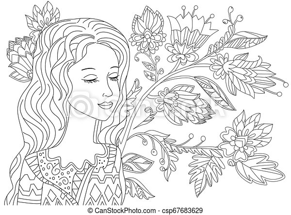 dreamy girl with eyes closed in fantasy forest for your coloring - csp67683629