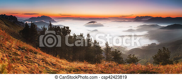 Dreamy sunrise over the clouds - csp42423819
