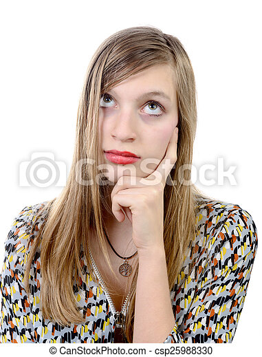 Dreamy teenage girl on a white background.