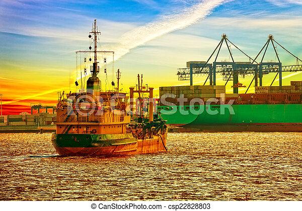 Dredger ship in port - csp22828803
