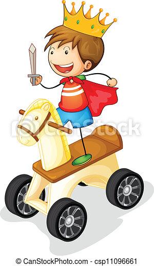 dreng, hest, stykke legetøj - csp11096661