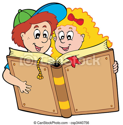 dreng, skole bog, pige læse - csp3440756