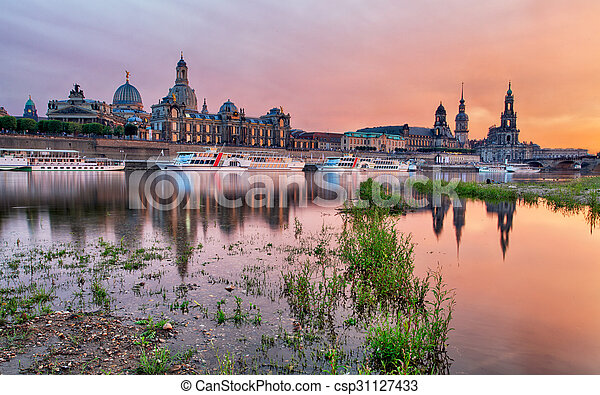 Dresden at sunset, Germany - csp31127433