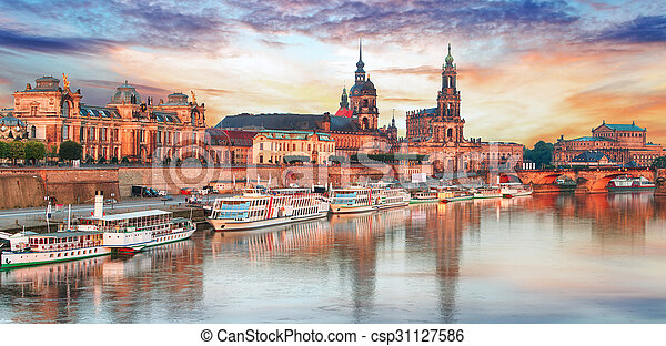 Dresden panorama at sunset, Germany - csp31127586