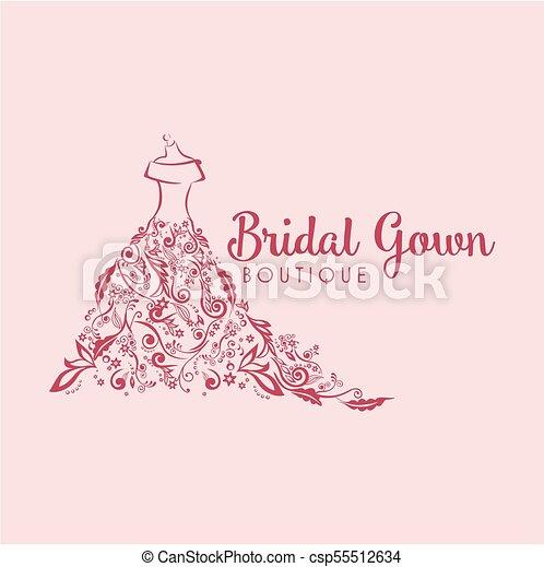 Dress boutique bridal floral simple logo template illustration dress boutique bridal floral simple logo template illustration design maxwellsz