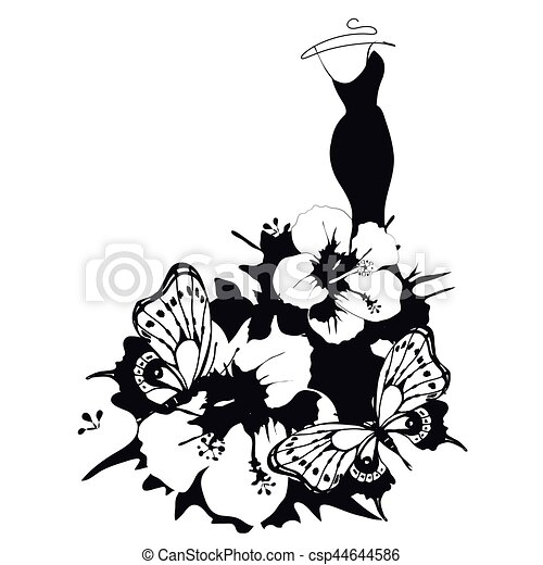 dress design, black, isolated on a white - csp44644586