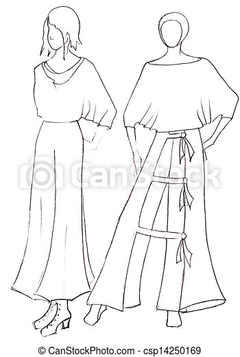 sketch of fashion model dress design by peasant motifs