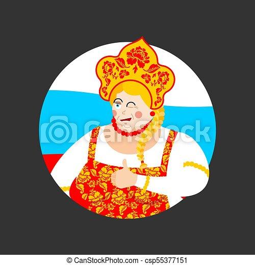 dress., historique, happy., russie, clignements, national, casquette, haut, joyeux, costume., girl., femme, kokoshnik, pouces, femme, ethnique, russe, painting., khokhloma, folklorique - csp55377151