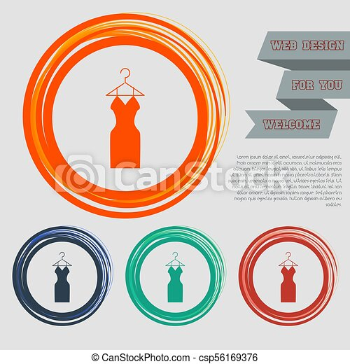 Dress Icon on the red, blue, green, orange buttons for your website and design with space text. Vector - csp56169376