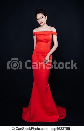 dress., maquillaje, mujer, asiático, moda, rojo, lujo - csp46337891