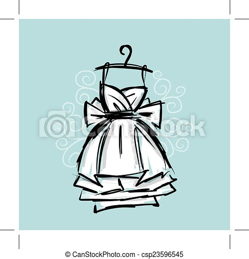 Dress on hangers, sketch for your design - csp23596545