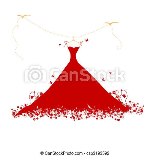 Dress red on hander, vector illustration - csp3193592
