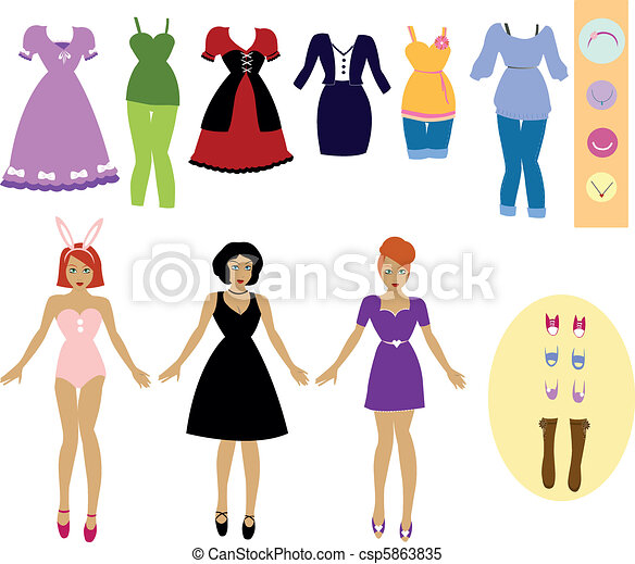 collection of cloths and accessories with girls to dress up each