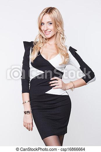 dress., vestido, branca, mulher, pretas - csp16866664
