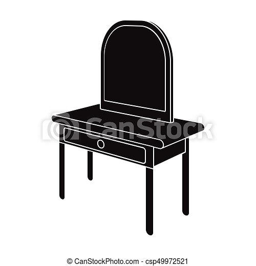 Dressing Table With Mirror. Furniture And Interior Single Icon In Black  Style Isometric Vector