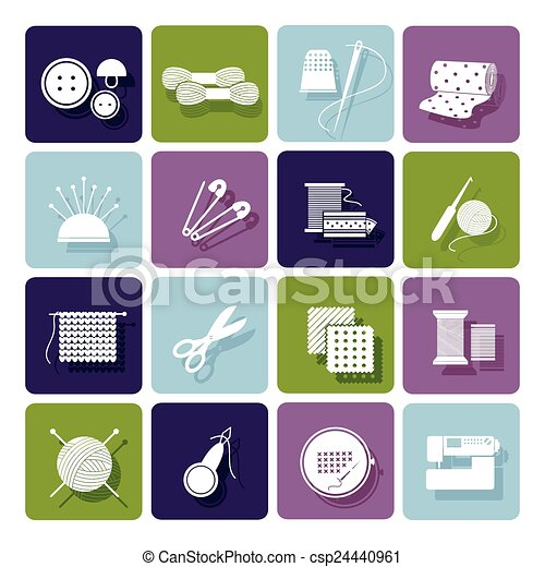 Dressmaking, knitting and embroidery icons - csp24440961