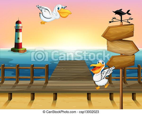 drewniany, ptaszki, dwa, strzała, deska - csp13002023
