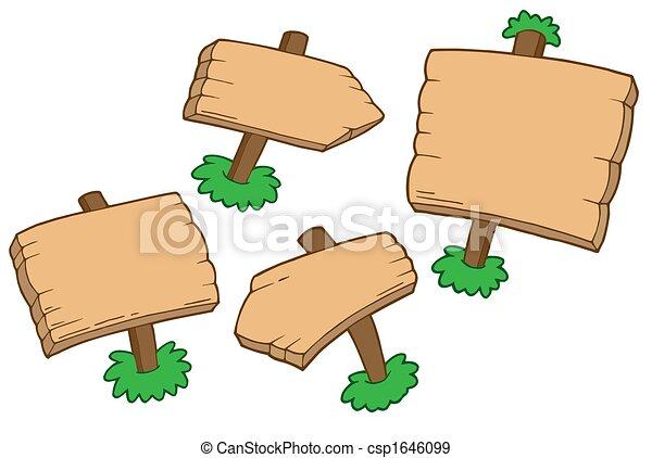 drewniany, różny, znaki - csp1646099