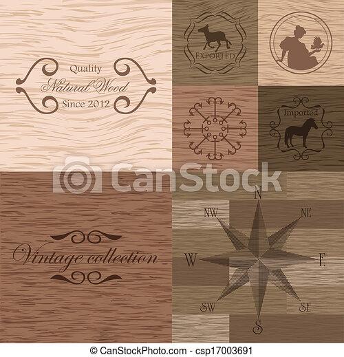 drewno, wektor, deska, struktura - csp17003691