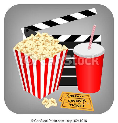 dricka, lottsedlar, -, popcorn, bio - csp16241916