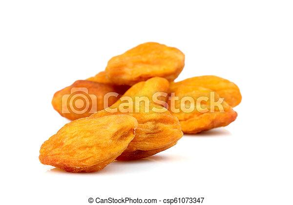 Dried apricots ( kaisa, uryuk, kuraga ) isolated . - csp61073347