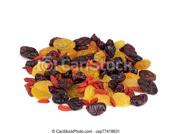 Dried fruits isolated on white - csp77418631