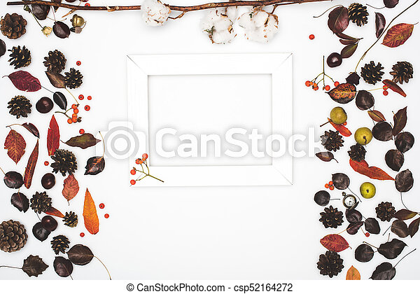 dried leaves and frame - csp52164272
