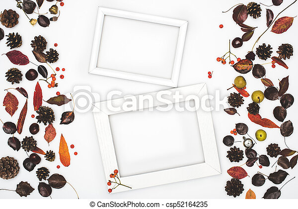 dried leaves and frames - csp52164235