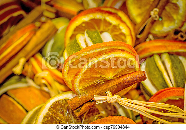 Dried orange slices for Christmas celebration - csp76304844