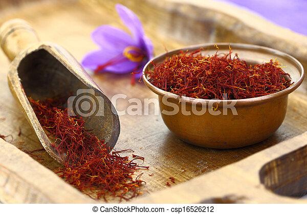 Dried saffron spice and Saffron flower - csp16526212