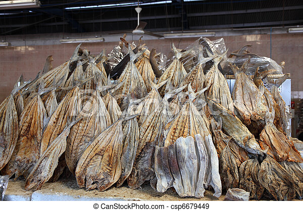 Dried salted fish at market in Dubai, United Arab Emirates