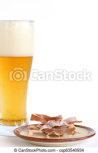 Dried Squid Snack On Plate With Beer - csp63540934