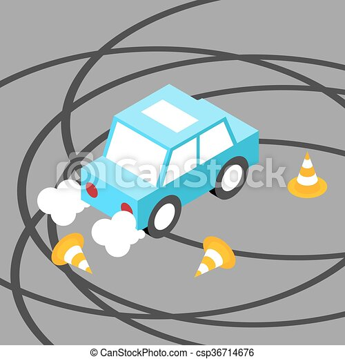 Drift car traffic cone isometric - csp36714676