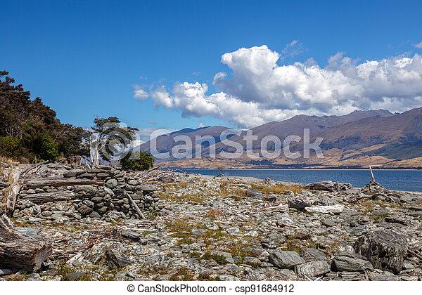 Driftwood and rocks on the Shore of Lake Wanaka - csp91684912
