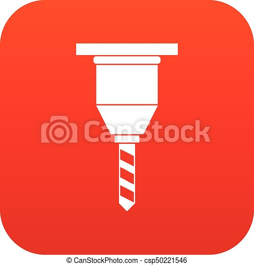 Drill bit icon digital red for any design isolated on ...
