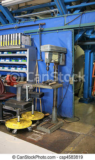 Drill Press in an Aircraft Plant - csp4583819