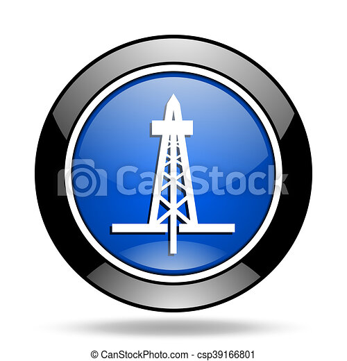 drilling blue glossy icon - csp39166801
