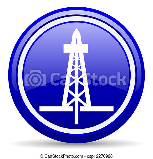 drilling blue glossy icon on white background - csp12276928