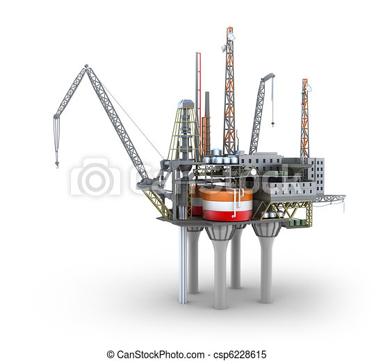 Drilling offshore Platform isolated - csp6228615
