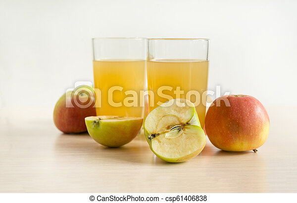 drink, 2, glasses, Apple juice, juice, apples, fruit, - csp61406838