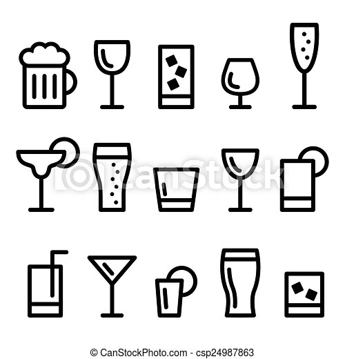 Drink alcohol beverage line icons - csp24987863